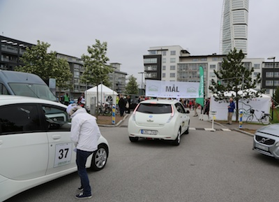 Cars crossing the finish line